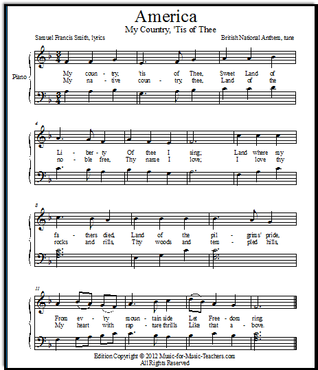 Free Piano Sheet Music New Age: America-for-piano