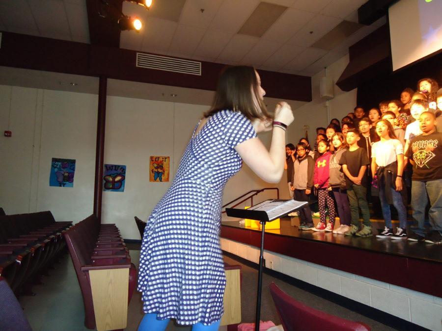 Music teacher conducting