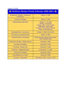 Family Events Calendar 2020 - 2021