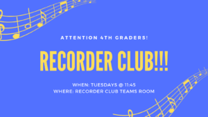 4th graders recorder club