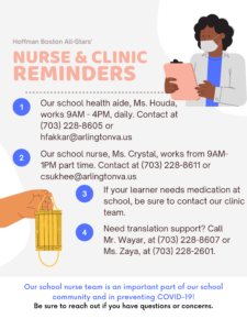 A nurse clinic hours and reminders